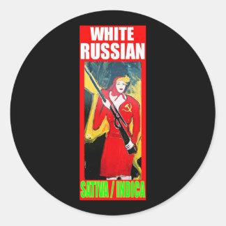 WHITE RUSSIAN SATIVA INDICA ROUND STICKER