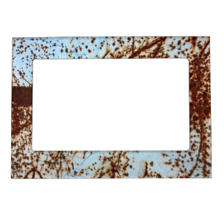 White Rusted Metal Corrosion Pattern Magnetic Frame