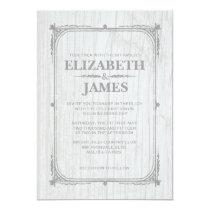White Rustic Barn Wood Wedding Invitations