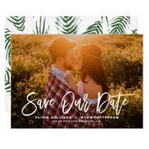 White Rustic Calligraphy Photo Save Our Date Card