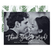 White Rustic Calligraphy Photo Wedding Thank You Card