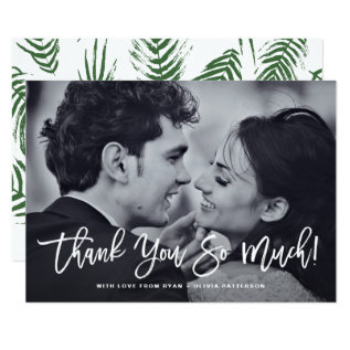 White Rustic Calligraphy Photo Wedding Thank You Card at Zazzle