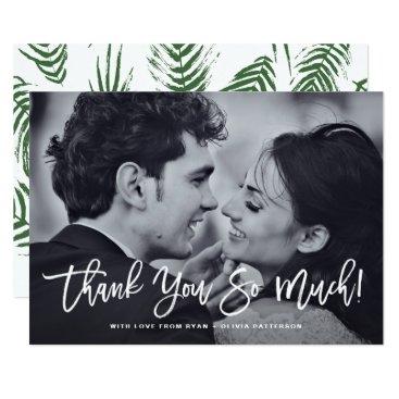 misstallulah White Rustic Calligraphy Photo Wedding Thank You Card