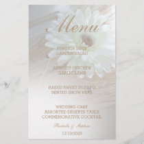 White Rustic Daisy Wedding Menu