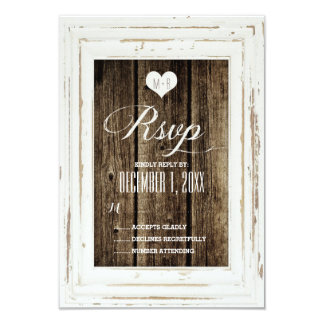 White Rustic Frame Barn Wood Wedding RSVP Card