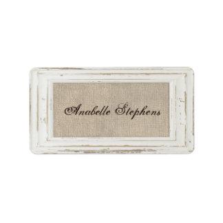 White Rustic Frame & Burlap Name Tag