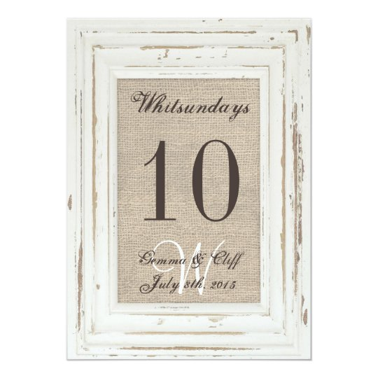 White Rustic Frame Burlap Table Number For Gemma