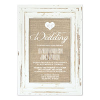 White Rustic Frame Burlap Wedding Invitation