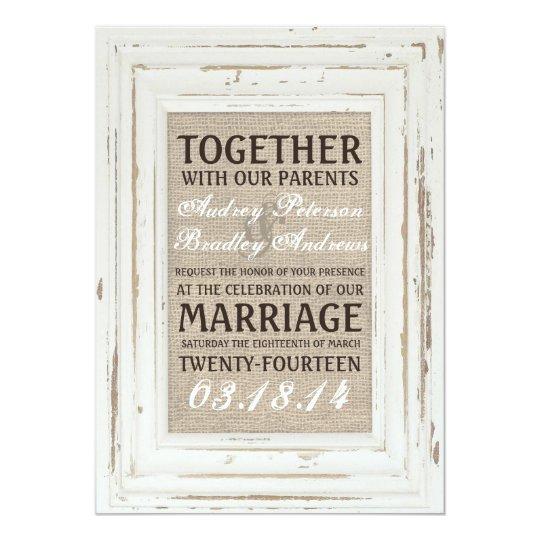 White Rustic Frame & Burlap Wedding Invitation   Zazzle.com