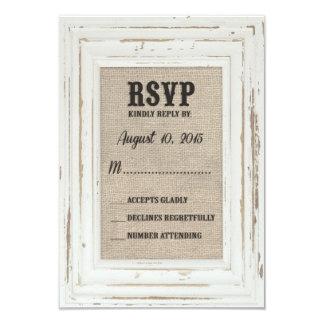White Rustic Frame & Burlap Wedding Kelly Custom Card