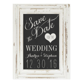 White Rustic Frame Chalk Typography Save the Date Postcard