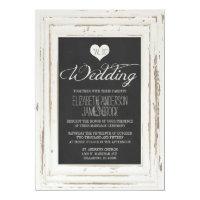 White Rustic Frame Chalk Wedding Invitation