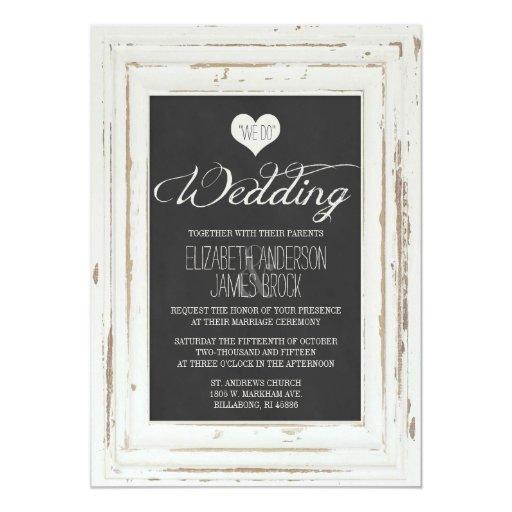 White Rustic Frame Chalk Wedding Invitation Zazzle