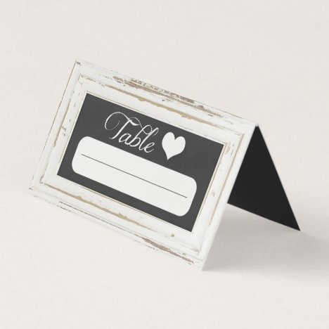 White Rustic Frame Chalk Wedding Place Card