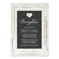 White Rustic Frame Chalk Wedding Reception Card