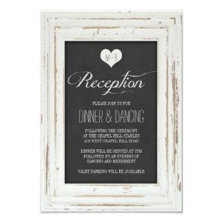 White Rustic Frame Chalk Wedding Reception Card