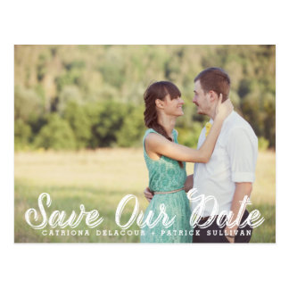 White Rustic Script Photo Save Our Date Postcard