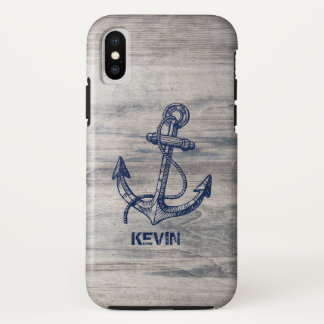 White Rustic Wood With Blue Nautical Boat Anchor iPhone X Case