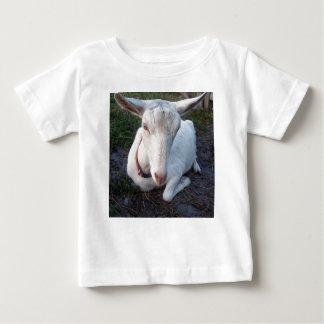 White Saanen dairy goat doe lying down relaxing Baby T-Shirt