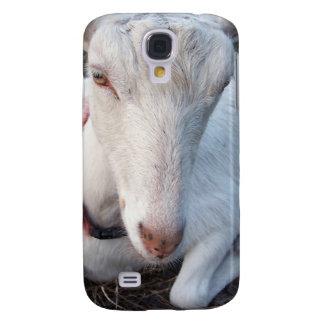 White Saanen dairy goat doe lying down relaxing Galaxy S4 Case