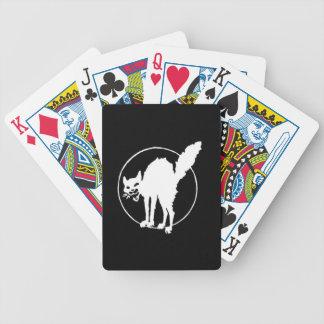 white sabot cat playing cards
