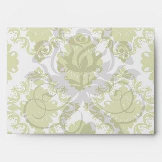 white sage romantic elegant damask envelope
