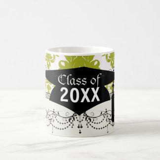 white sage romantic elegant damask graduation mug