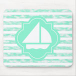 White Sail Boat On Mint Mouse Pad
