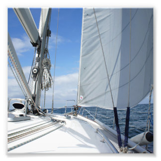 White Sailboat Deck Closeup Photo Print