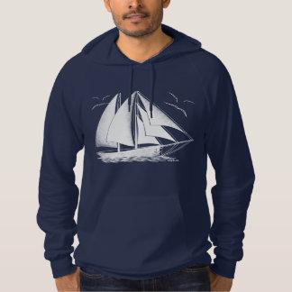 White sailboat nautical sailing sailor hoodie