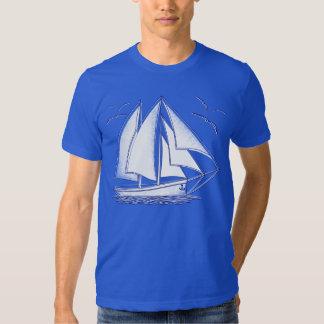 White sailboat nautical sailing sailor shirt