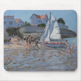 White sailboat Palais sur Mer France Mouse Pad