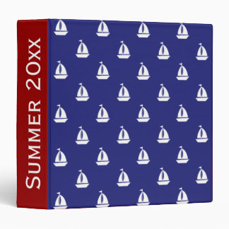 White Sailboats on Blue Personalized 3 Ring Binder