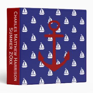 White Sailboats on Blue With Red Anchors Binder