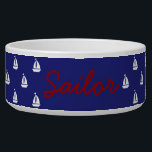 "White Sailboats on Nautical Blue Personalized Bowl<br><div class=""desc"">Preppy white sailboat silhouettes on a solid nautical blue background.  personalize with your choice of name or special text.</div>"