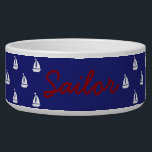 """White Sailboats on Nautical Blue Personalized Bowl<br><div class=""""desc"""">Preppy white sailboat silhouettes on a solid nautical blue background.  personalize with your choice of name or special text.</div>"""