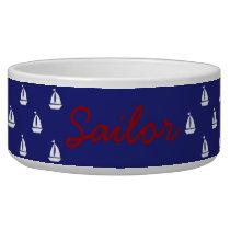 White Sailboats on Nautical Blue Personalized Bowl