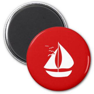 White Sails 2 Inch Round Magnet