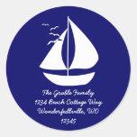 White Sails Round Stickers