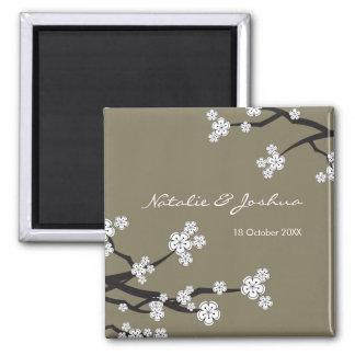 White Sakura Asian Wedding Save The Date Magnet
