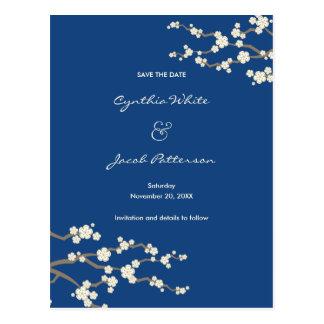 White Sakura Cherry Blossoms Asian Save The Date Postcard