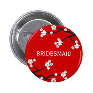 White Sakura Cherry Blossoms Chic Wedding Name Tag Button