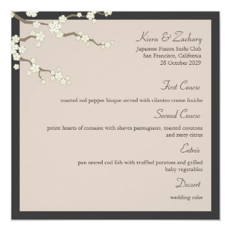 White Sakura Cherry Blossoms Wedding Menu Card
