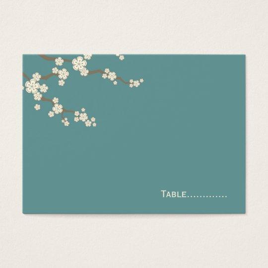 White Sakura Cherry Blossoms Wedding Place Card