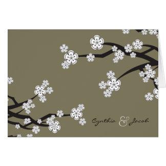 White Sakura Cherry Blossoms Wedding Thank You Card
