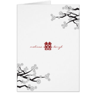 White Sakura Cherry Blossoms Wedding Thank You Stationery Note Card