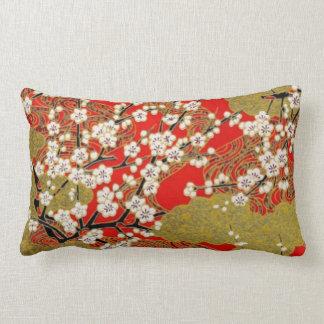 White Sakura Fine Vintage Japanese Pattern Throw Pillow