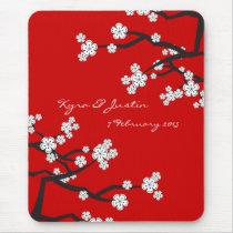 White Sakuras Flower Custom Favor / Gift Mousepad