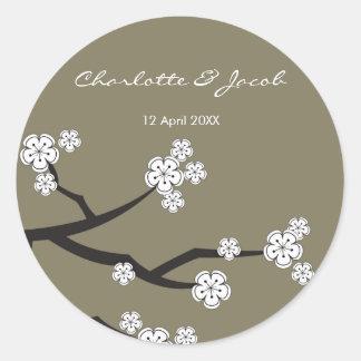 White Sakuras Save The Date Thank You Sticker