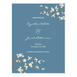 White Sakuras Save The Date Wedding Postcard